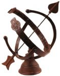 Cast iron armillary sundial w hour indicator garden ornament